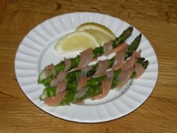 Roast Asparagus with Smoked Salmon