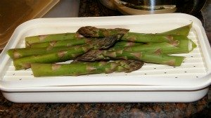 Asparagus in a fish steamer