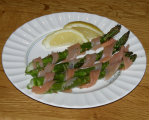 Smoled Salmon wrappd Asparagus Appetizer