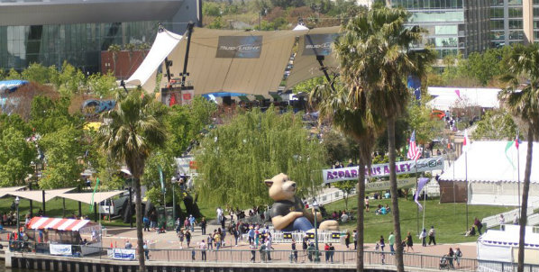 Aerial view of Stockton Asparagus Festival
