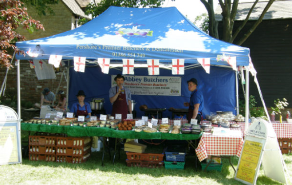 Butchers stall at British Asparagus Festival 2012