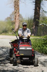 bringin compost on a mini tractor