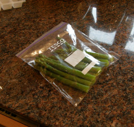 The process of Freezing Asparagus - bagged up ready to freeze