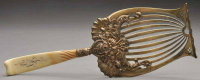 Ivory handle, gold wash asparagus fork, CA1888