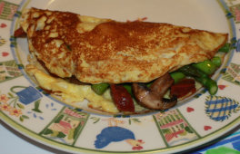 Freshly coooked ASparagus mushroom and chorrizo omelette