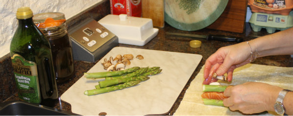 Making Salmon and Asparagus in Filo Pastry