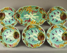 Wonderful majolica asparagus platter and individual plates - the