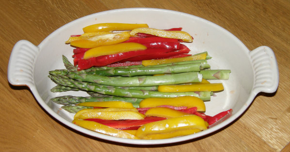 ASparagus & Sweet Pepper bake ready to cook