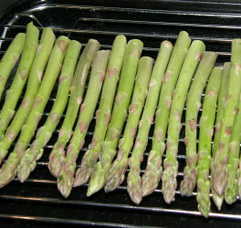 Raw asparagus ready to grill