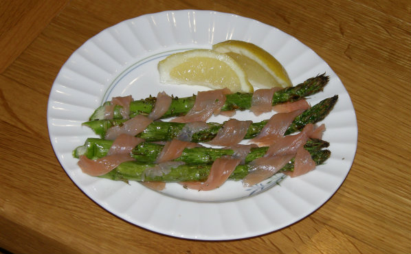Asparagus wrapped in smoked salmon strips